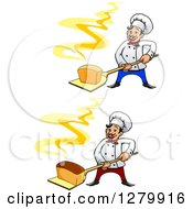 Clipart Of Happy Cartoon Male Chefs Holding Fresh Hot Breads On Peels Royalty Free Vector Illustration