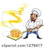 Clipart Of A Happy Cartoon Male Chef Holding A Fresh Hot Bread Loaf On A Peel Royalty Free Vector Illustration