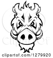 Clipart Of A Black And White Aggressive Boar Head Royalty Free Vector Illustration by Vector Tradition SM
