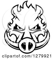 Clipart Of A Black And White Aggressive Boar Head Royalty Free Vector Illustration