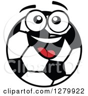 Happy Soccer Ball Character Smiling And Looking Up