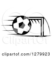 Clipart Of A Black And White Flying Soccer Ball And Goal Net Royalty Free Vector Illustration
