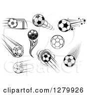 Clipart Of Black And White And Grayscale Soccer Balls Royalty Free Vector Illustration