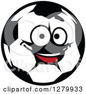 Happy Soccer Ball Character Smiling