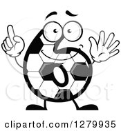 Clipart Of A Grayscale Soccer Ball Number Six Character Royalty Free Vector Illustration
