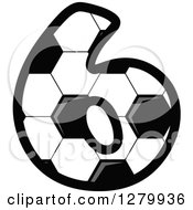 Clipart Of A Grayscale Soccer Ball Number Six Royalty Free Vector Illustration