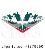 Clipart Of Houses With Teal Roofs And Red Swooshes Royalty Free Vector Illustration