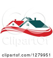 Clipart Of Houses With Teal Roofs And Red Swooshes 2 Royalty Free Vector Illustration