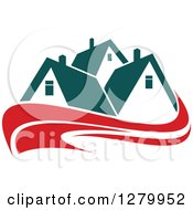Clipart Of Houses With Teal Roofs And Red Swooshes 3 Royalty Free Vector Illustration