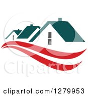 Clipart Of Houses With Teal Roofs And Red Swooshes 4 Royalty Free Vector Illustration