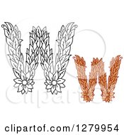 Clipart Of Black And White And Colored Floral Capital Letter W Designs Royalty Free Vector Illustration