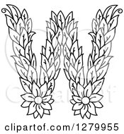 Clipart Of A Black And White Floral Capital Letter W With A Flower Royalty Free Vector Illustration