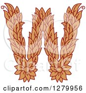 Clipart Of A Floral Capital Letter W With A Flower Royalty Free Vector Illustration