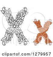 Clipart Of Black And White And Colored Floral Capital Letter X Designs Royalty Free Vector Illustration