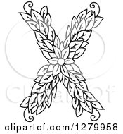Clipart Of A Black And White Floral Capital Letter X With A Flower Royalty Free Vector Illustration