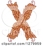 Clipart Of A Floral Capital Letter X With A Flower Royalty Free Vector Illustration