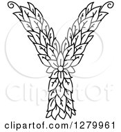Clipart Of A Black And White Floral Capital Letter Y With A Flower Royalty Free Vector Illustration