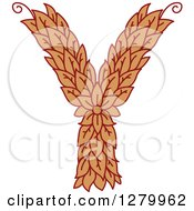 Clipart Of A Floral Capital Letter Y With A Flower Royalty Free Vector Illustration