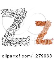 Clipart Of Black And White And Colored Floral Capital Letter Z Designs Royalty Free Vector Illustration