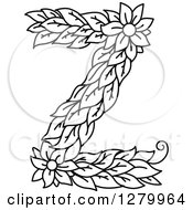 Clipart Of A Black And White Floral Capital Letter Z With A Flower Royalty Free Vector Illustration