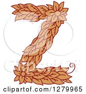 Clipart Of A Floral Capital Letter Z With A Flower Royalty Free Vector Illustration