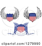 Clipart Of Winged American Flag Shields Royalty Free Vector Illustration