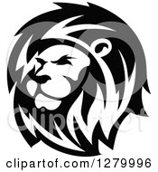 Clipart Of A Black And White Male Lion Head Facing Left Royalty Free Vector Illustration