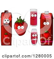 Clipart Of A Smiling Strawberry Character And Juice Royalty Free Vector Illustration