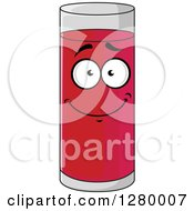 Clipart Of A Smiling Tall Glass Of Strawberry Juice Character Royalty Free Vector Illustration