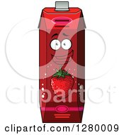 Clipart Of A Smiling Strawberry Juice Carton Character 2 Royalty Free Vector Illustration