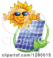 Clipart Of A Welcoming Sun Wearing Shade Over A Solar Panel Encircled With A Swoosh And Green Leaves Royalty Free Vector Illustration