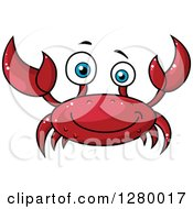 Clipart Of A Cheerful Red Crab Royalty Free Vector Illustration by Vector Tradition SM