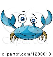 Clipart Of A Cheerful Red Crab Royalty Free Vector Illustration