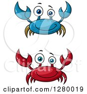 Clipart Of Cheerful Red And Blue Crabs Royalty Free Vector Illustration