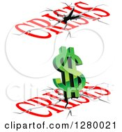 Clipart Of Crisis Text Cracks And A Green Dollar Symbol Royalty Free Vector Illustration