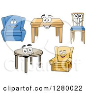 Clipart Of Happy Cartoon Chairs And Tables Royalty Free Vector Illustration