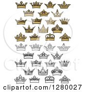 Clipart Of Black And White And Gold Crowns Royalty Free Vector Illustration