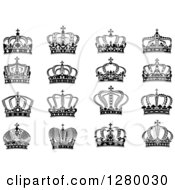 Clipart Of Black And White Crowns 11 Royalty Free Vector Illustration