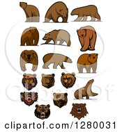 Clipart Of Brown Bears And Faces Royalty Free Vector Illustration