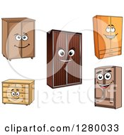 Clipart Of Happy Cartoon Dressers And Wardrobes Royalty Free Vector Illustration