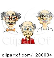 Clipart Of Happy Old Men Wearing Glasses Royalty Free Vector Illustration by Vector Tradition SM