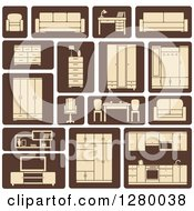 Clipart Of Tan And Brown Household Furniture Icons Royalty Free Vector Illustration