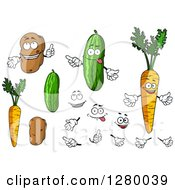 Clipart Of Potato Cucumber And Carrot Characters With Hands And Faces Royalty Free Vector Illustration