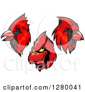 Clipart Of Red Cardinal Mascot Heads Royalty Free Vector Illustration