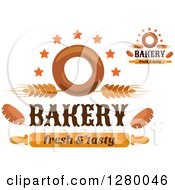 Clipart Of Bagel Wheat Star And Rolling Pin Bakery Fresh And Tasy Designs Royalty Free Vector Illustration by Vector Tradition SM
