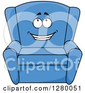 Clipart Of A Happy Cartoon Yellow Arm Chair Royalty Free Vector Illustration