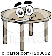 Clipart Of A Happy Cartoon Round Table Royalty Free Vector Illustration by Vector Tradition SM