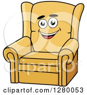 Clipart Of A Happy Cartoon Yellow Arm Chair Royalty Free Vector Illustration by Vector Tradition SM
