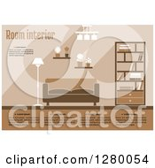 Clipart Of A Brown And Tan Living Room With Sample Text Royalty Free Vector Illustration by Vector Tradition SM