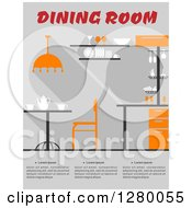 Clipart Of A Dining Room Interior With Sample Text Royalty Free Vector Illustration by Vector Tradition SM